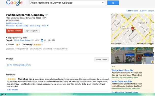 Pacific Merchantile Company's Google Place page