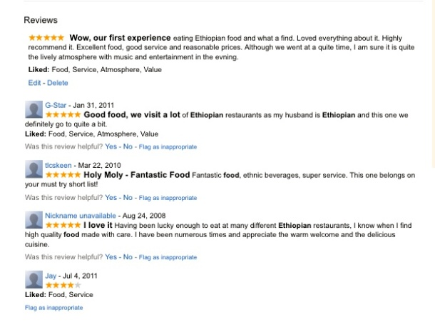 Reviews of Habesha Restaurant