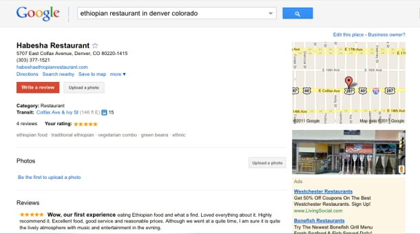 Habesha Restaurant found on Google Places