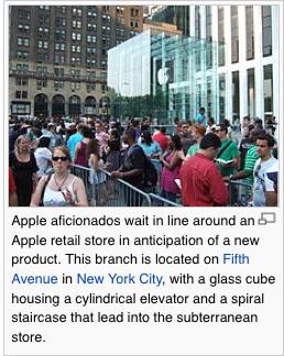 Apple Aficionados Wait in Line © Wikipedia