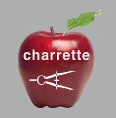 The charrette apple with white helvetica type and the white compass