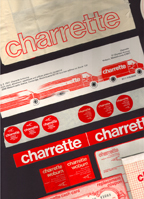 charrette bag, stickers etc all showing the brand