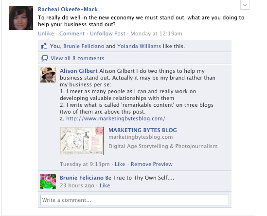A conversation on the facebook discussion group 'Local Biz Is The Solution'