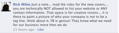 A quote from Rick Milne about the facebook page covers and the rules to make them