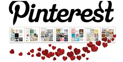 Pinterest written out with board images and hearts