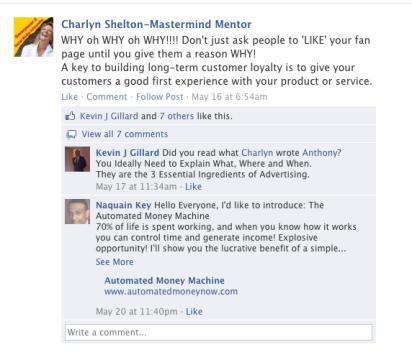 Charlyn Shelton on facebook LIKES